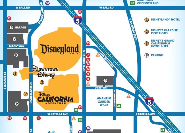 カリフォルニアディズニーの地図