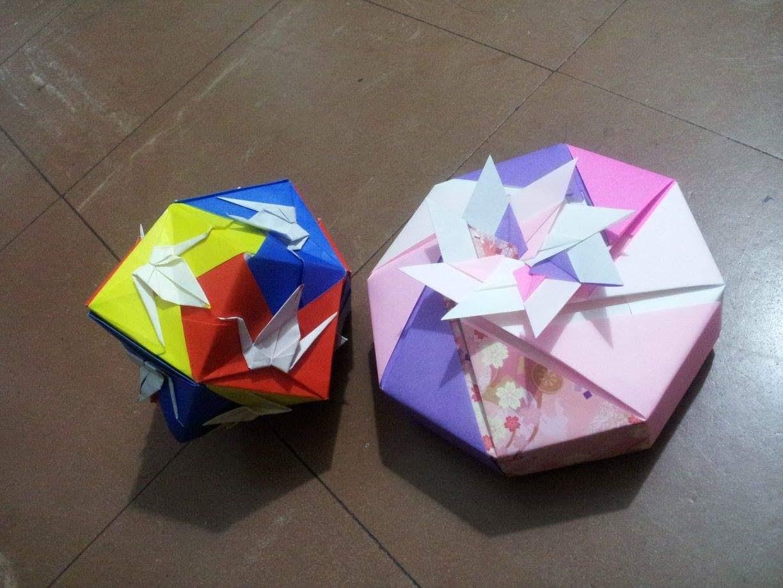折り紙で作ったくす玉と箱